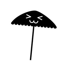 Beach umbrella kawaii character vector