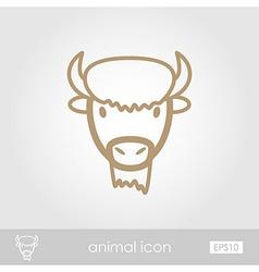 Bison buffalo ox icon animal head symbol vector