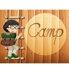 Boy with glasses climbing the ladder vector