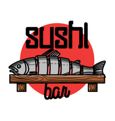 Color vintage sushi bar emblem vector