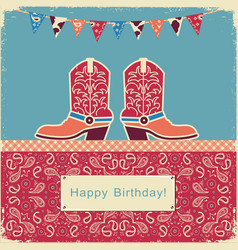 cowboy happy birthday with shoes on sweet cake vector image