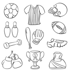 Doodle of sport equipment collection vector