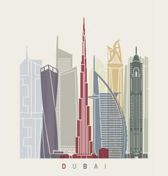 dubai v2 skyline poster vector image vector image