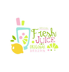 fresh juice natural product logo original design vector image