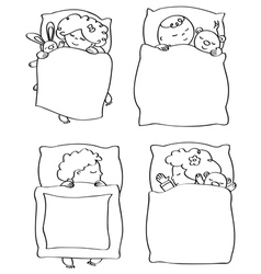 Kids sleeping contour vector