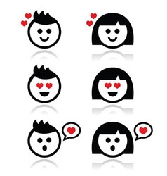 Man and woman in love icons set vector image vector image