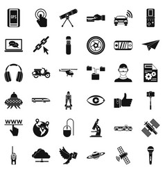 Network technology icons set simple style vector