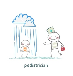 pediatrician talking to a sick child in the rain vector image vector image