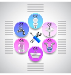 Plumbing infographics with tools and objects in vector image vector image