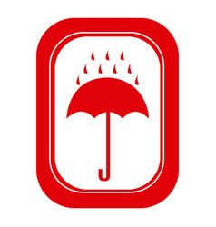 red rain with umbrella emblem icon vector image vector image