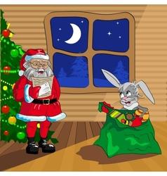 Santa Claus and Christmas rabbit vector image