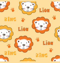 seamless pattern with cute owls baby lions vector image