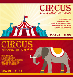 set circus banner circus ticket amazing show vector image