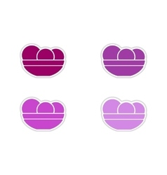 Set of paper stickers on white background plate of vector