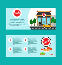 Sushi house horizontal flyers vector
