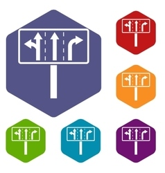 Traffic lanes at crossroads junction icons set vector image