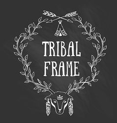 Tribal frame with with the head of a deer vector