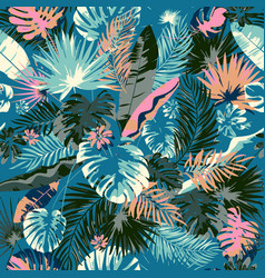 Tropical summer print with exotic leaves and vector