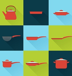 Utensil set in flat style with long shadow vector image vector image
