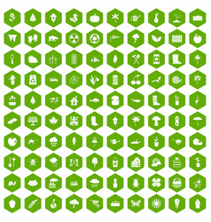 100 garden stuff icons hexagon green vector