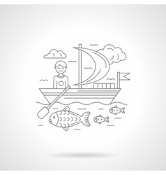Boating detailed line vector