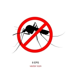 Mosquito bite with forbidden sign vector