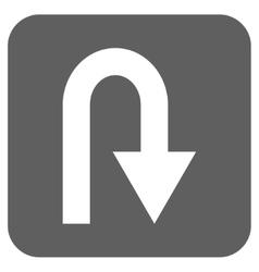 U turn flat squared icon vector