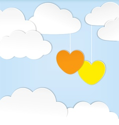 Paper clouds with hearts vector