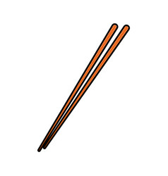 drawing stick wooden food japanese utensil vector image