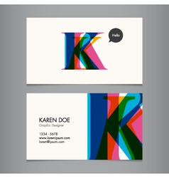 K business card vector