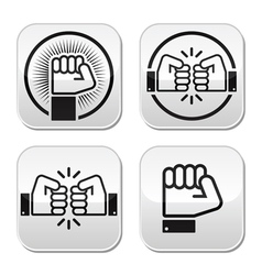 Fist fist bump buttons set vector image
