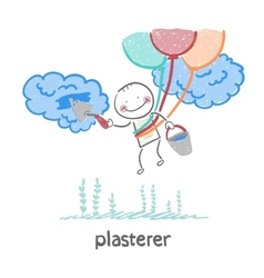 plasterer flying balloons and works with cloud vector image