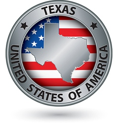 Texas state silver label with state map vector