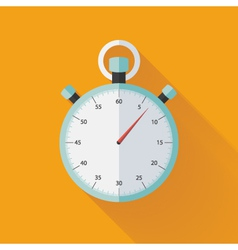 Mint flat stopwatch icon over orange vector