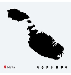 High detailed map of malta with navigation pins vector