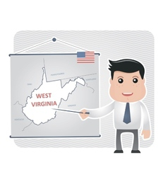 Man with a pointer points to map of west virginia vector