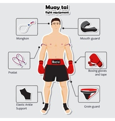 Sport equipment for muay tai martial arts vector