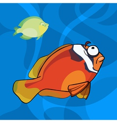 Two cartoon tropical fish in water vector