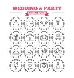 Wedding and party linear icons set thin outline vector