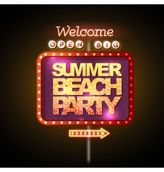 Neon sign summer beach party vector