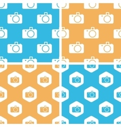 Camera pattern set colored vector