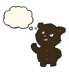 Cartoon cute black bear cub with thought bubble vector