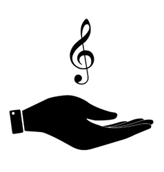 Violine clef in hand icon vector