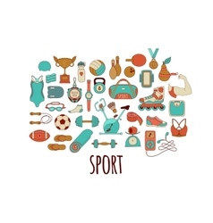 Hand drawn fitness and sport doodle icons vector