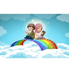 Two muslim reading books over the rainbow vector