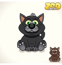 Cartoon black cat character vector