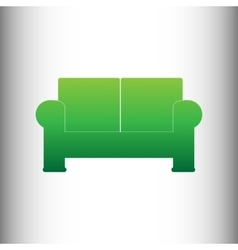 Sofa sign green gradient icon vector