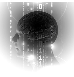 Active Human Brain with Binary digits vector image vector image