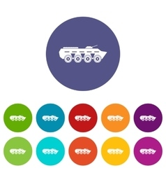 Army battle tank set icons vector image