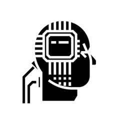 artificial interlligence - ai - human head - vector image